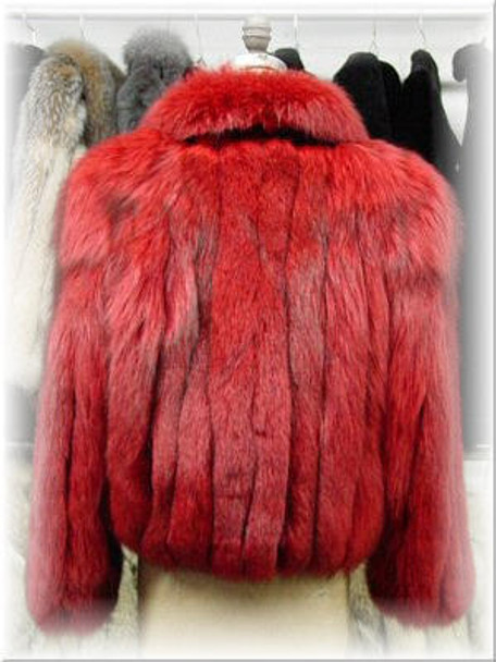 Full Skin Dyed Red Fox Bolero Fur Jacket