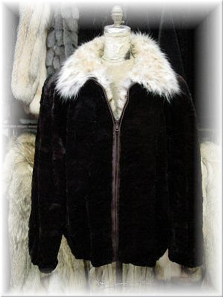 Sheared Mink Bomber Fur Jacket with Lynx Fur Collar 1