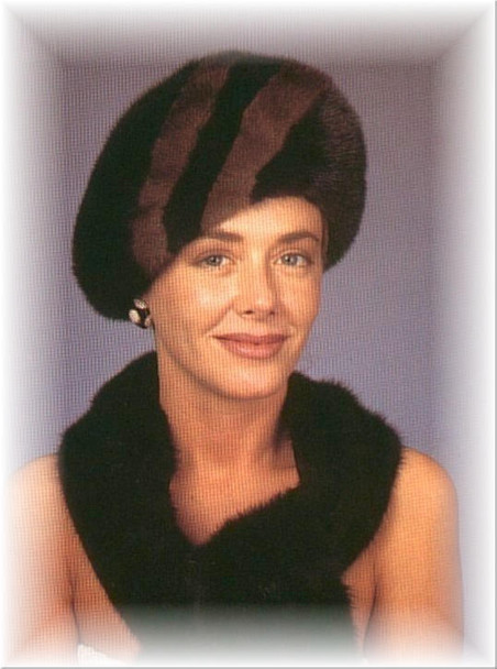 Two Tone Stripe Beret Fur Hat