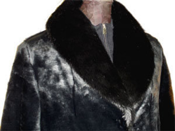 Faux Fur Beaver Coat with Faux Fox Collar