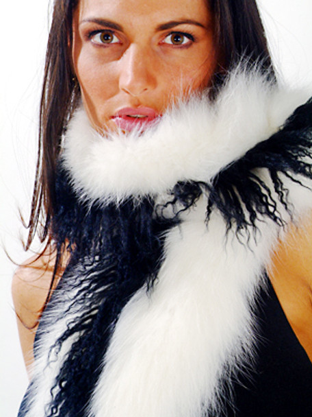 White Curly Fox Fur With Black Tails Boa