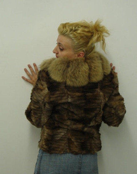 Fur Jacket Sheared Fox with Fur Collar