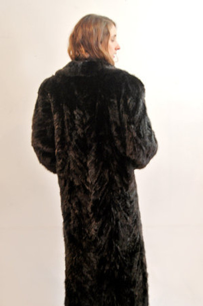 Classic Mink Design Coat with Indigo Fox Trimming