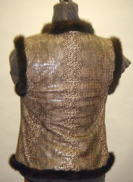 Brown Mink Fur with Snake Design Vest