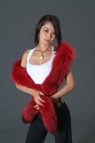 Dyed Red Fox Tail Fur Scarf