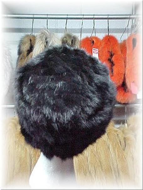 Sectional Black Mink Fur Cap