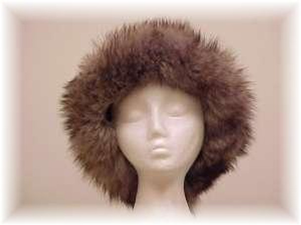 Gray Faux Fur Hat with Indigo Fox Trim