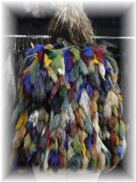Multicolor Fox Bolero Fur Jacket
