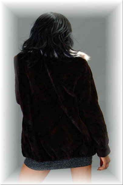 Sheared Mink Bomber Fur Jacket with Lynx Fur Collar