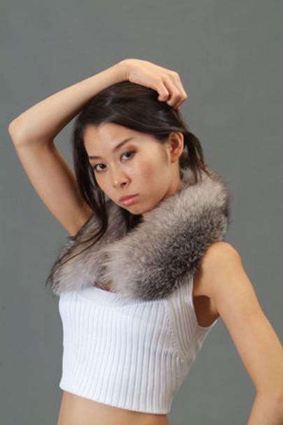 Indigo Fox Fur Collar