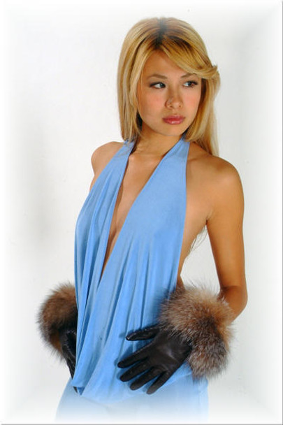 Fur Gloves Fox Trim Crystal Fox