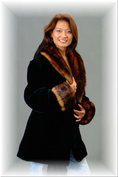 Faux Fur Mink with Faux Fur Sheared Beaver