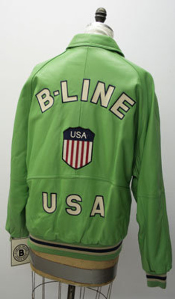 Leather Mens Green B-Line Jacket