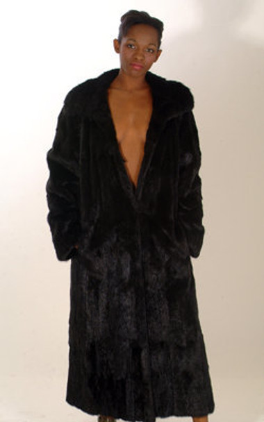 Sheared Mink Fur Long Coat