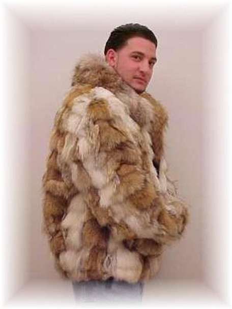 Coyote Fur Bomber Jacket with Full Skin Fur Collar