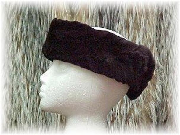 Dyed Dark Burgundy Sectional Sheared Mink Fur Headware