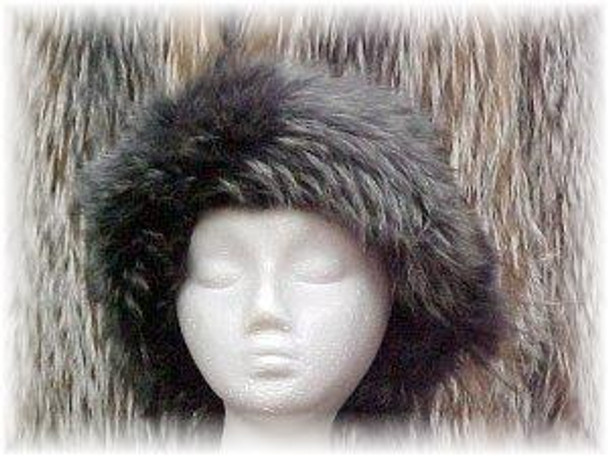 Full Skin Dyed Gray Coyote Fur Headwrap
