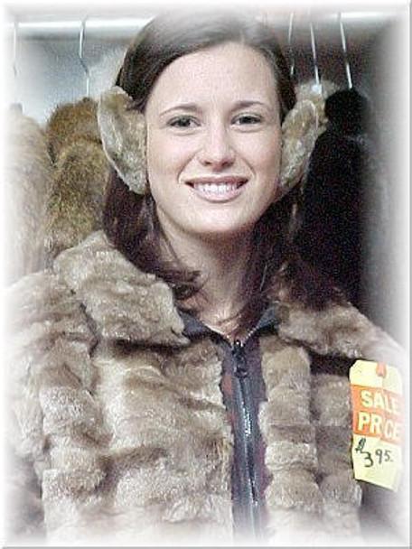 Light Brown Sheared Beaver Fur Earmuffs