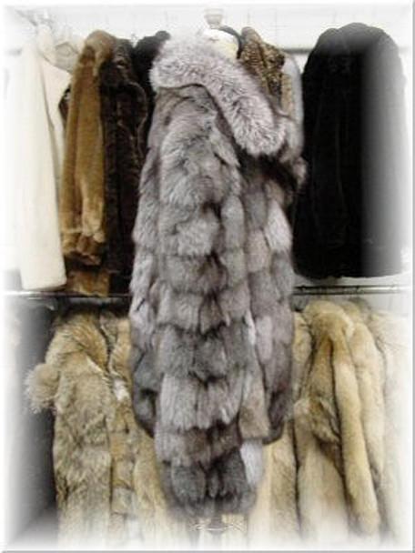 Indigo Fox Bomber Fur Jacket