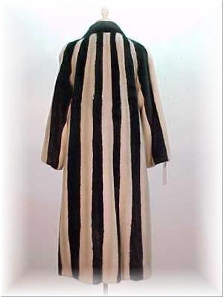Zebra Pattern Full Skin Mink Fur Coat