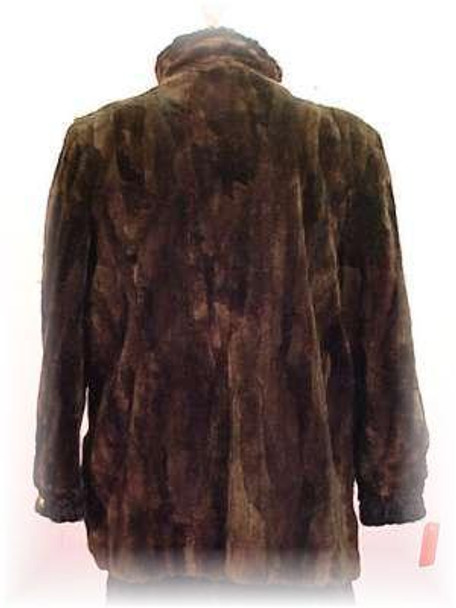 Dyed Brown Chenille Sheared Beaver Fur Jacket