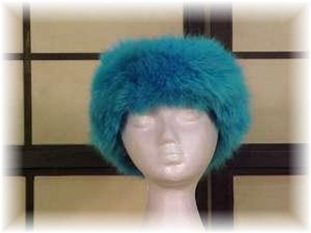 Full Pelt Dyed Teal Fox Fur Head Wrap
