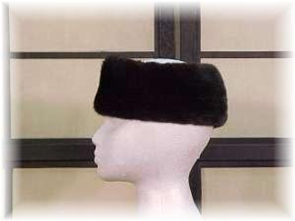 Full Skin Blackglama Ranch Mink Fur Head Wrap
