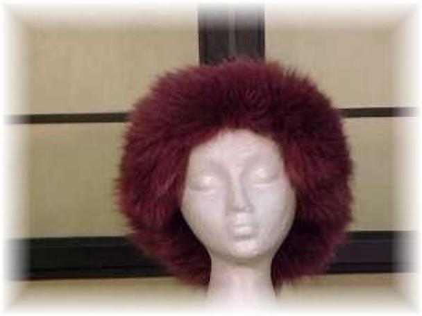 Full Skin Raccoon Fur Hat with Dyed Burgundy Fox Fur
