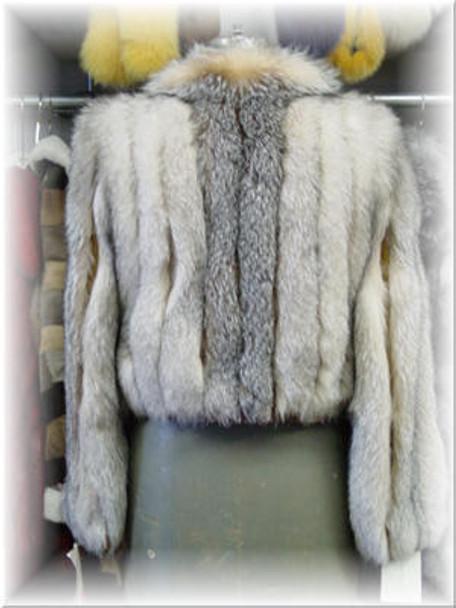 Full Skin Fox Crystal Fur Bolero with and leather Cuffs