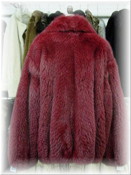 Full Skin Burgundy Fox Bomber Fur Jacket