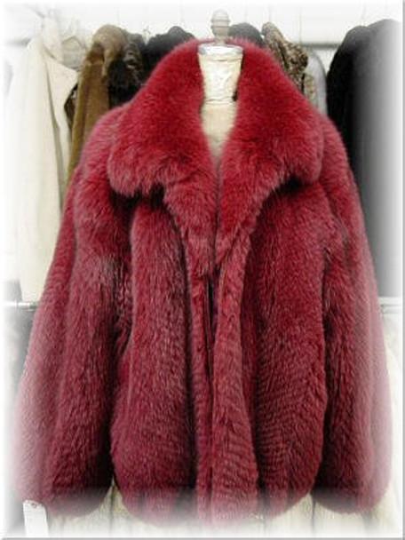 50499cb9aef Full Skin Burgundy Fox Bomber Fur Jacket - furoutlet - fur coat