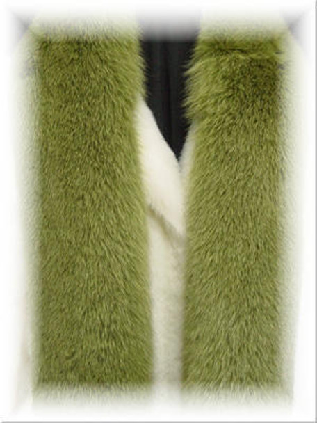 Dyed Dark Green Full Skin Fox Fur Scarf