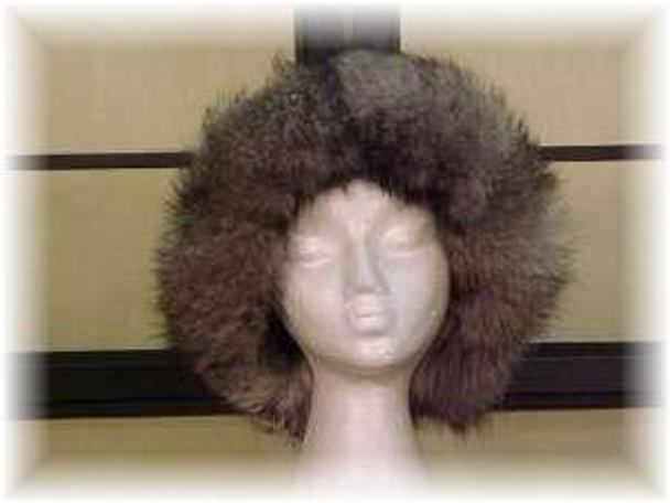 Raccoon Fur Hat with Indigo Fox Fur Trim