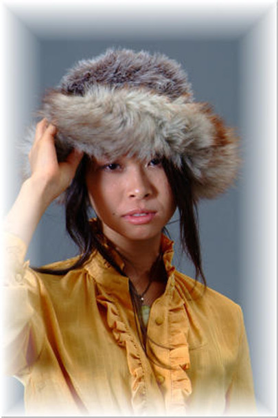 Gray Faux Fur Hat with Fox Trim