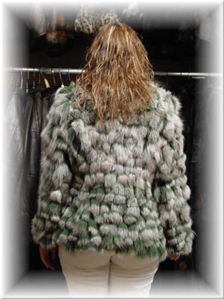 Dyed White & Gray BoleroFox Fur Jacket
