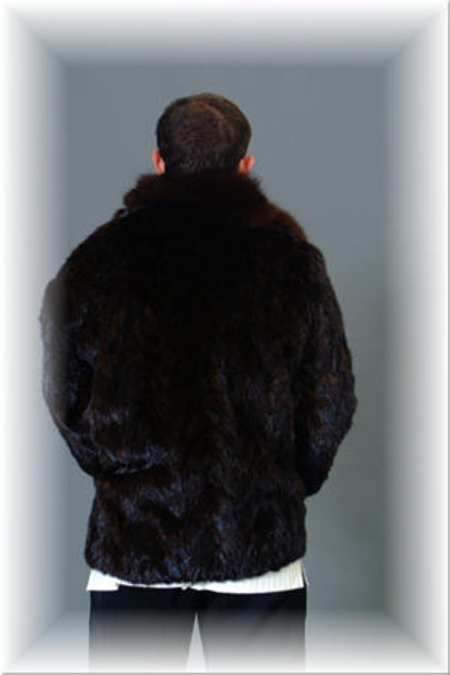 Brown Mink Bomber Jacket w/ Wing Collar