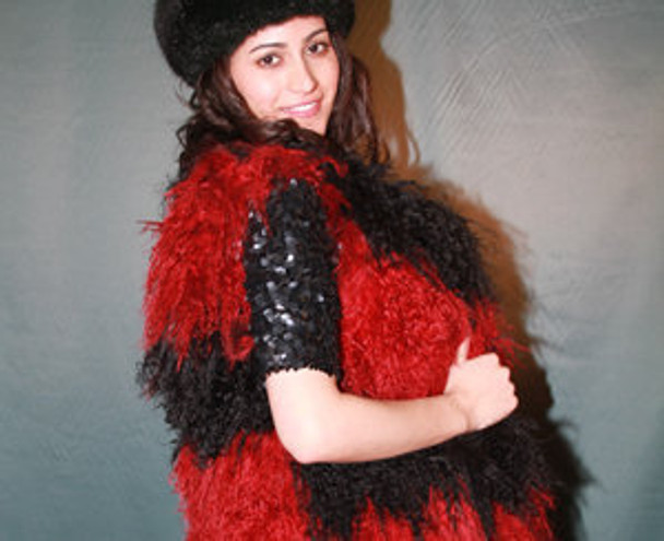 Black & Red Curly Lamb Fur Vest