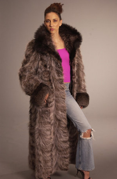 Sectional Raccoon Design Fur Coat