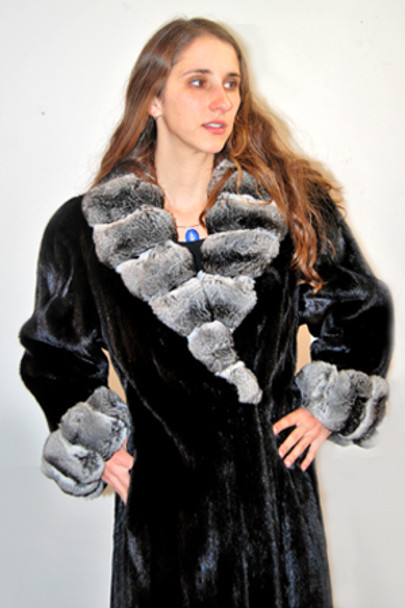 Black Lama Mink Fur Coat