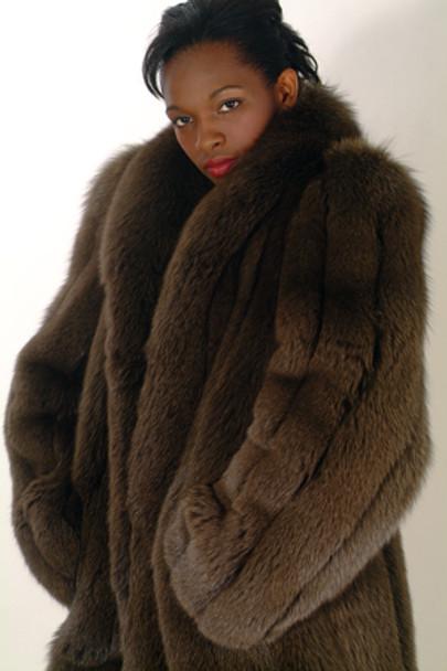 Women's Fur Brown Fox 3/4 Jacket