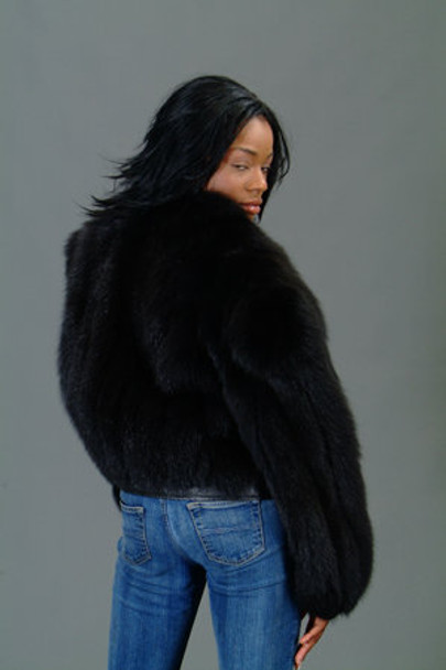 Full Skin Black Fox Bolero Fur Jacket