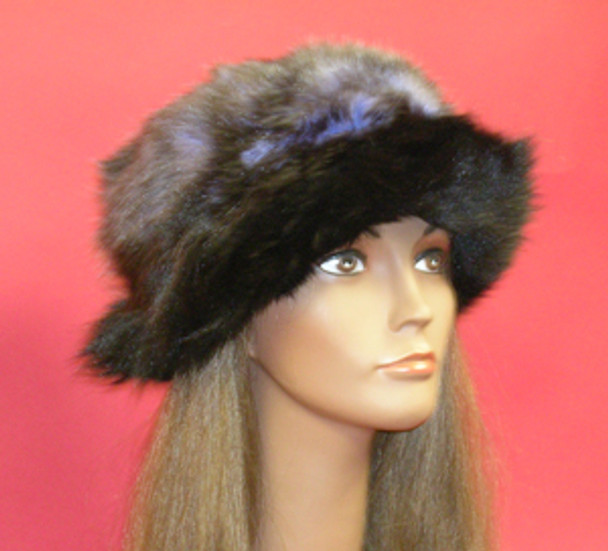 Raccoon with black fox Fur Hat