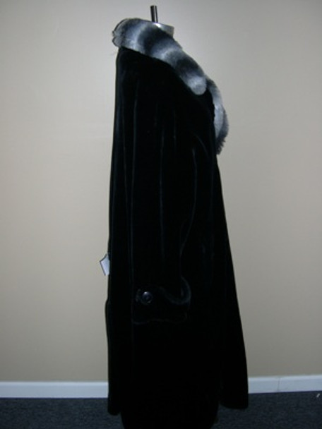 Men's Black Faux Beaver w/ Chinchilla Long Coat