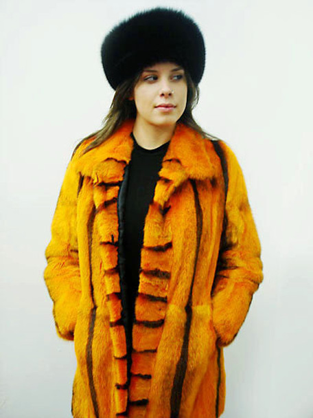 Orange Mink Fur Design Black Stripes Jacket