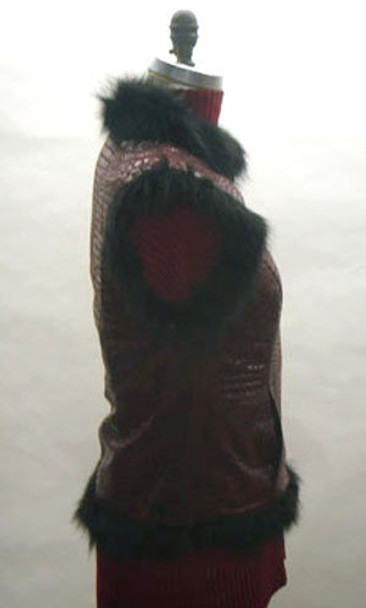 Black Fox with Faux Snake Design Vest