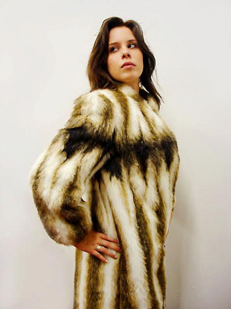 Faux Mink Fur Design Woman's Coat