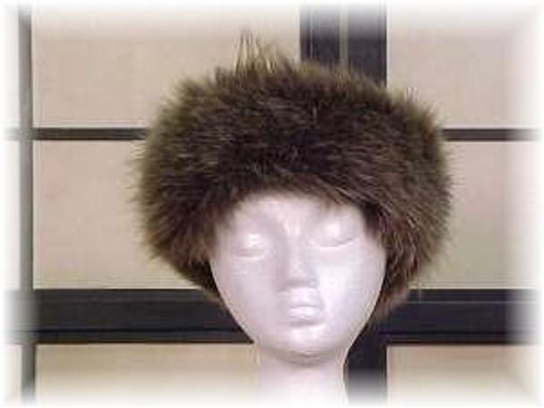 Full Skin Dyed Light Brown Fox Fur Head Wrap