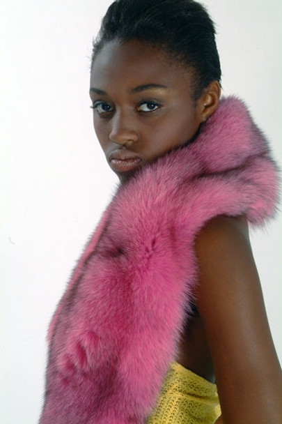 Double Full Skin Dyed Pink Fox Fur Scarf