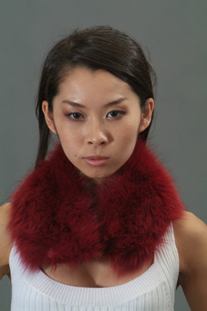 Burgundy Fox Fur Collar