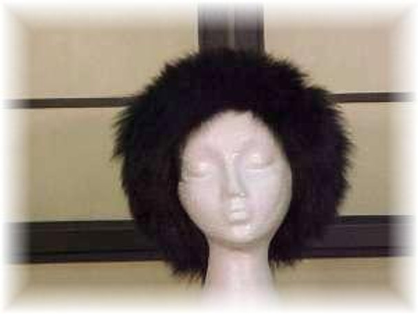 Full Skin Raccoon Fur Hat with Dyed Black Fox Fur